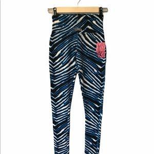 Zubaz blue and black leggings Carolina Panthers XS